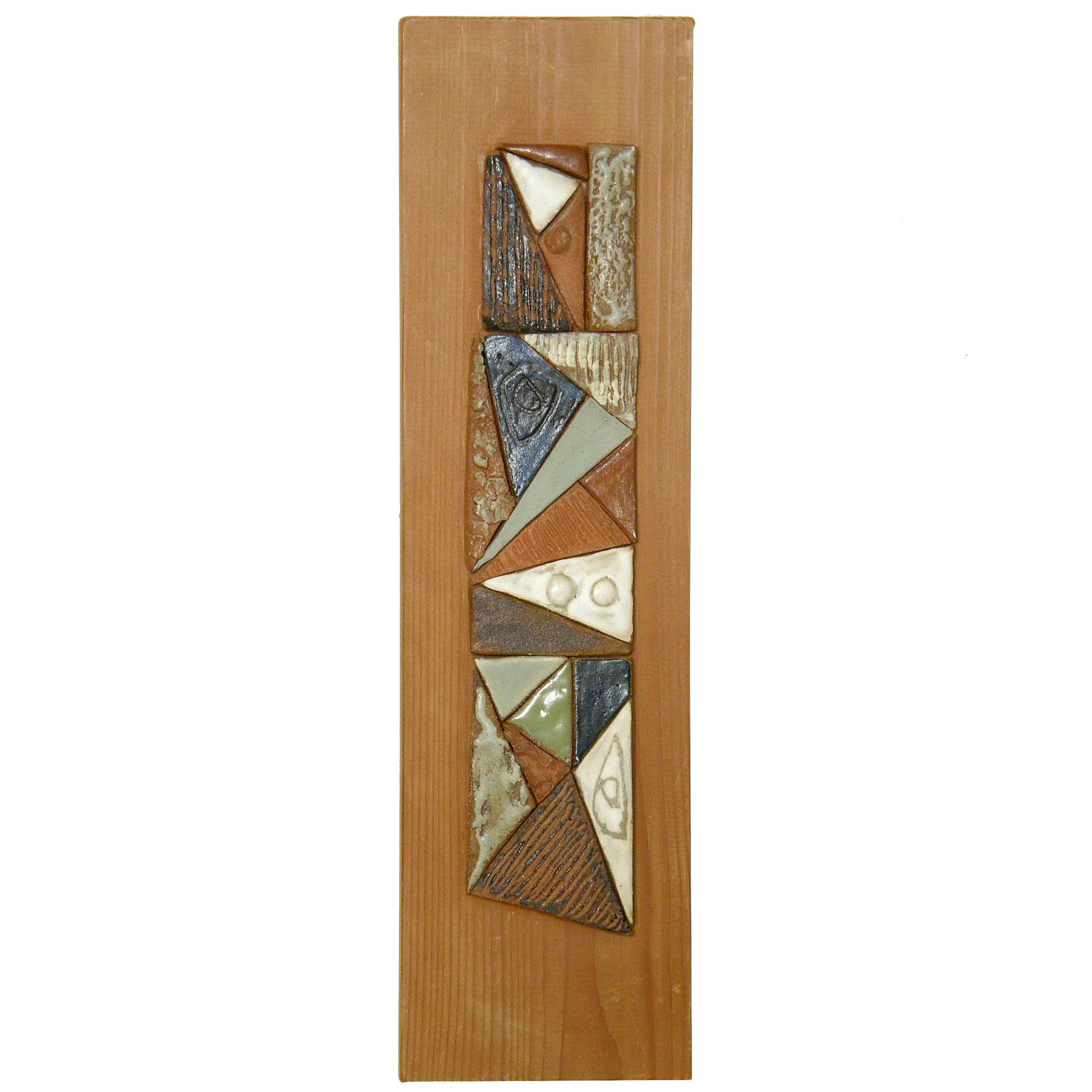 Abstract Ceramic Mosaic on Wood Relief Wall Sculpture by Peg Tootelian