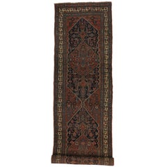 Antique Persian Kurdish Bidjar Runner with Rustic Luxe Art Deco Style