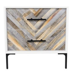 Mid-Century Style 2-Drawer Amalfi Side Table in White Lacquer w/ Recycled Wood