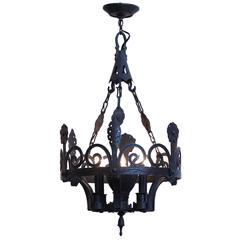 1900s Wrought Iron Arts and Crafts Six-Light Chandelier