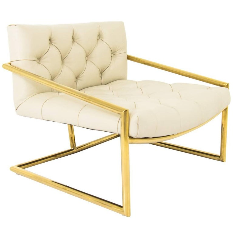 Modern Style Hampton Chair in Tufted Cream Leather w/ Brass Tubing Base For Sale