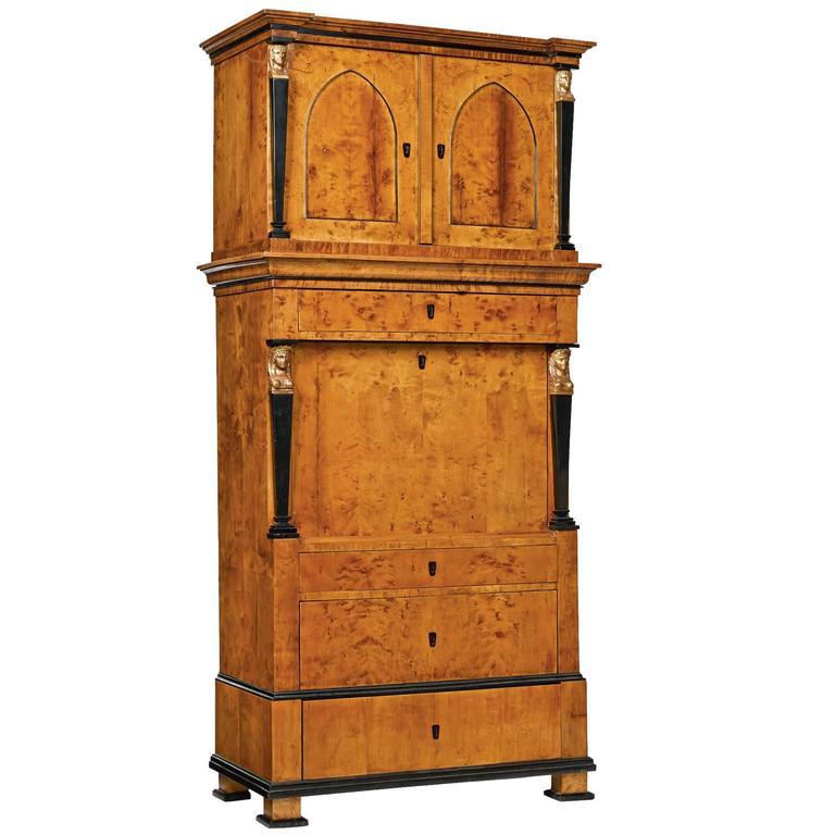 Early 19th Century Biedermeier Fruitwood Secretaire a Abattant