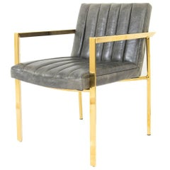 Modern Style Argentina Dining Chair in Grey w/ Pitched Back & Brass Frame