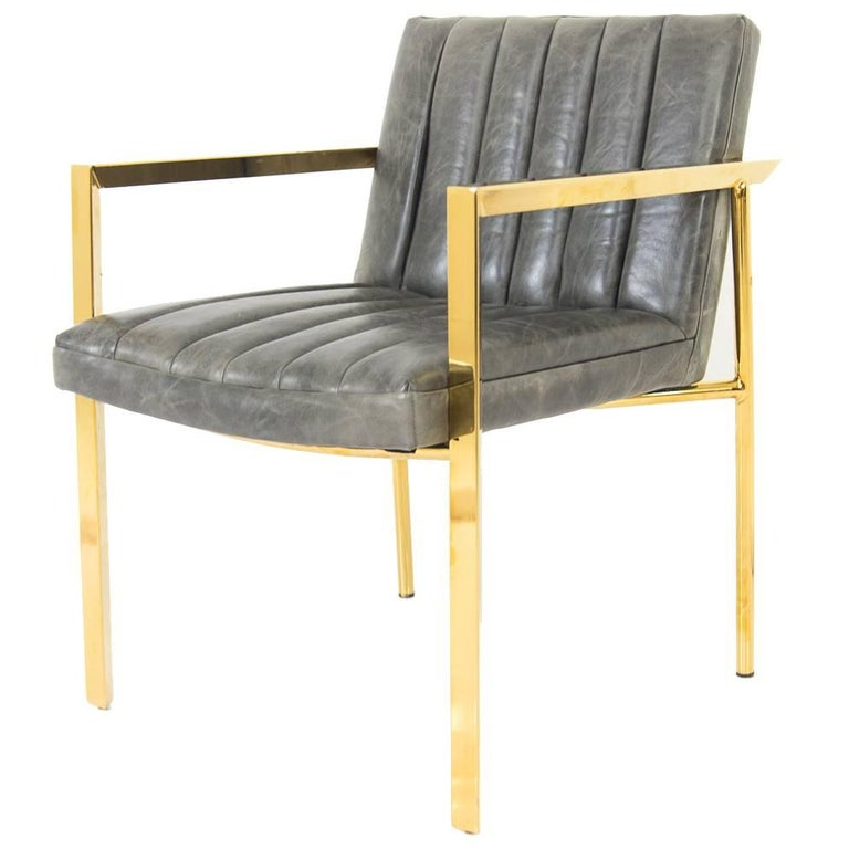 Modern Style Argentina Dining Chair in Grey w/ Pitched Back & Brass Frame For Sale