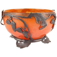 French Art Nouveau Glass and Wrought Iron Bowl by Val Paris & Daum