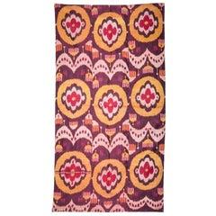 Late 19th-Early 20th Century Uzbek Pure Silk (Silk Warp and Weft) Ikat Panel