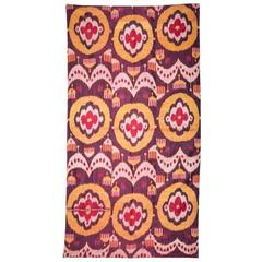 Late 19th-Early 20th Century Uzbek Pure Silk (Silk Warp and Weft) Ikat Panel