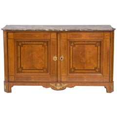 Fine Louis XVI Marquetry Inlaid Bronze Mounted Marble-Top Cabinet