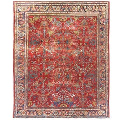 Antique Sultanabad Persian Rug with Jewel Colors