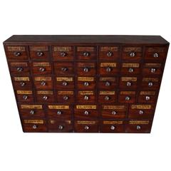 Antique Mahogany Apothecary Cabinet / Bank of Drawers, England, circa 1850