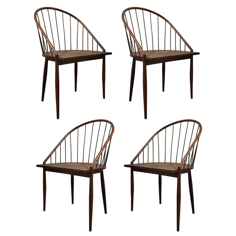 Set Of Four Brazilian Spindle Back Chairs By Joaquim Tenreiro At 1stdibs