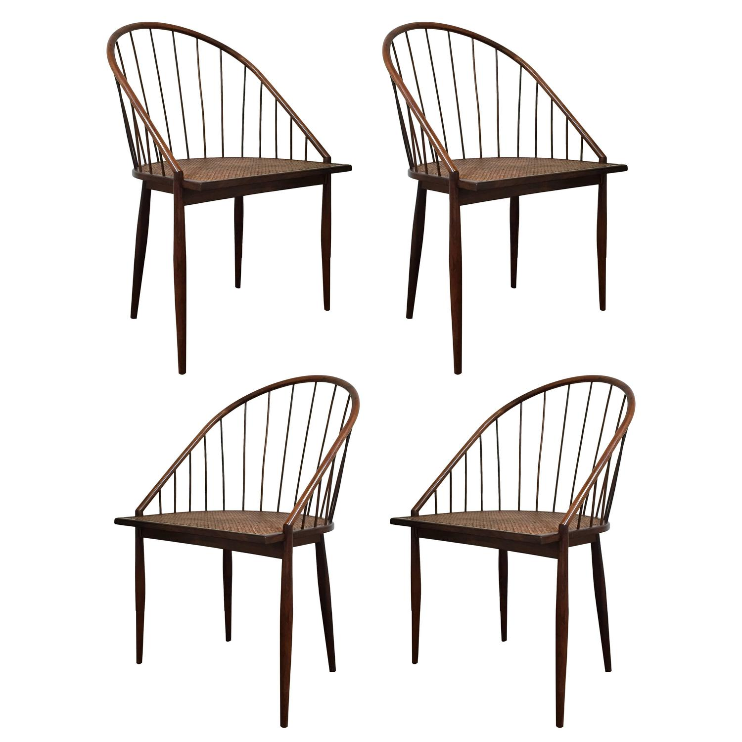 Set of Four Brazilian Spindle Back Chairs by Joaquim Tenreiro at
