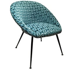 Mid-Century Curved Back Lounge Chair in Green Patterned Silk Velvet