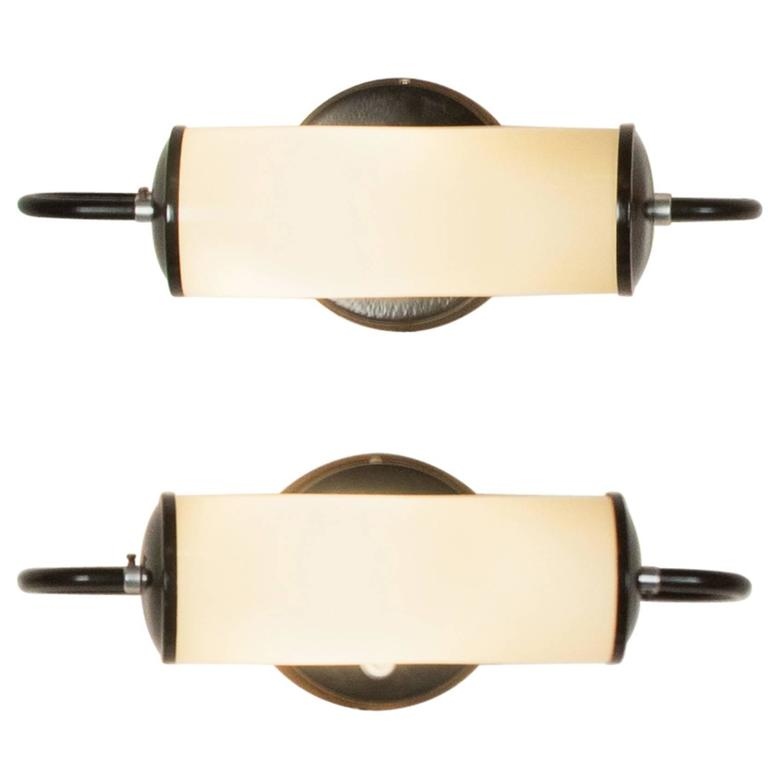 Pair of cylindrical glass wall sconces german 1930s at - Cylindrical wall sconce ...