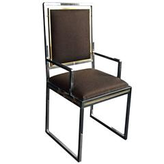 1970s French Brass and Chrome Dining Chair with Dark Brown Textured Upholstery