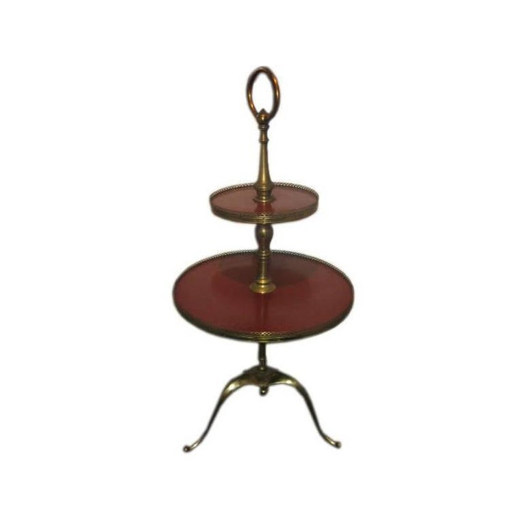 Italian Two-Tiered Table on Brass Tri-Pod Base 1
