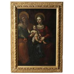 "18th Century Painting ""Virgin Mary with Child and Saint Anne"""
