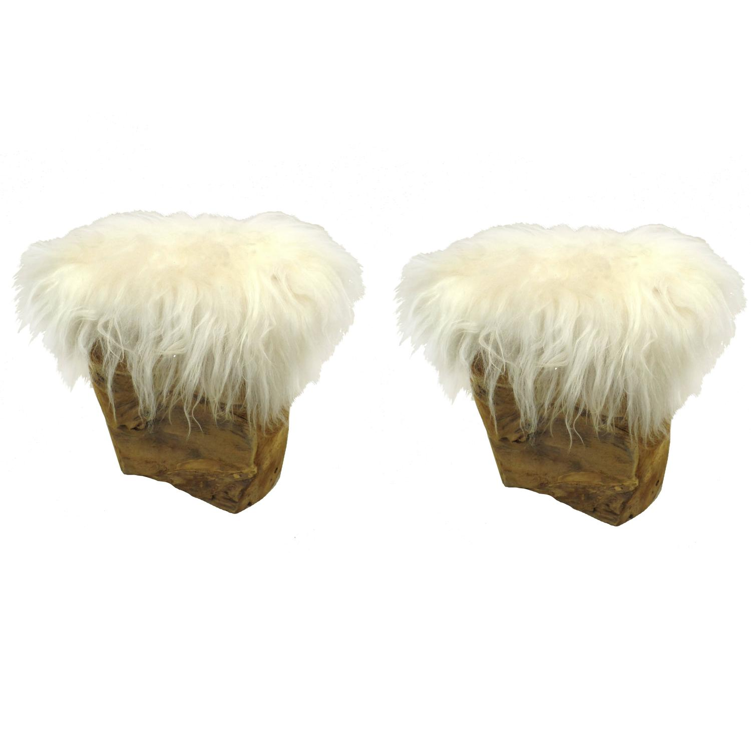 Pair of Italian Goat Skin Benches/Stools