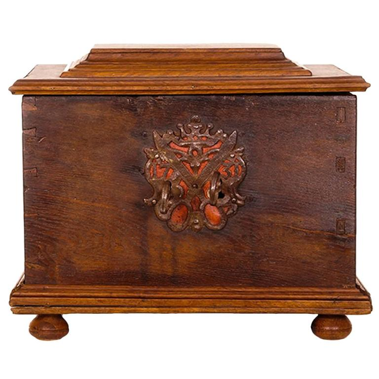 18th century continental oak and fruitwood strong box at 1stdibs. Black Bedroom Furniture Sets. Home Design Ideas