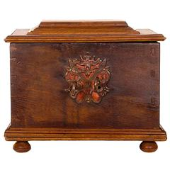18th Century Continental Oak and Fruitwood Strong Box