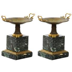 Pair of French Bronze and Marble Garniture Antique Tazzas, 19th Century
