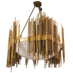 Fedele Papagni, Chandelier, Gilt Bronze and Opaline Rods, circa 1980, Italy