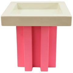 White & Pink Faenza Ceramic Tray Designed by Ettore Sottsass for Ceramica Gatti