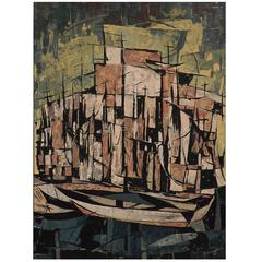 Hugo Mohl 'Segel-Hafen' Mid-Century Abstract Painting, Dated 1967