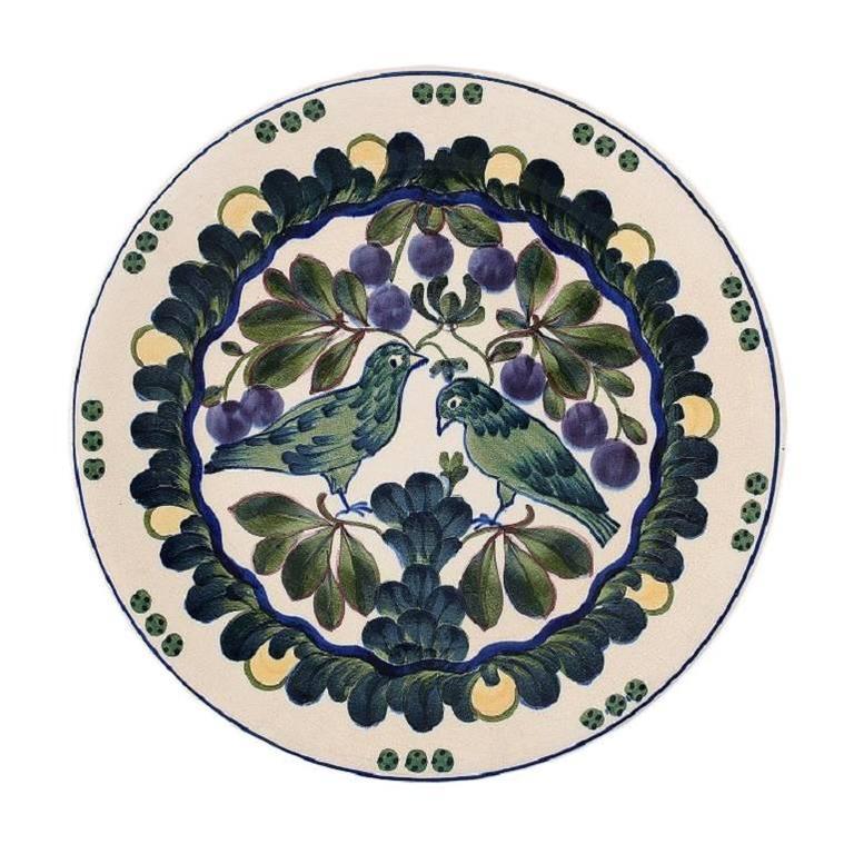 Aluminia Copenhagen, Large Platter, Decorated with Birds, Early 20 Century