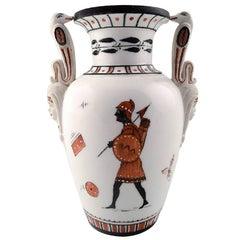 Rare Royal Copenhagen Vase, Egyptian Style, Historicism, 1860s-1870s