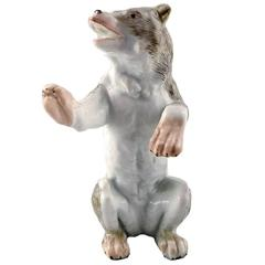 Antique Porcelain Figurine of Standing Bear, Meissen Style, Late 19th Century