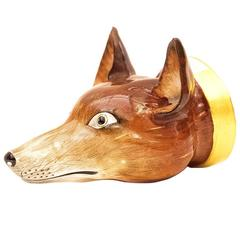 19th Century English Porcelain Fox Mask Stirrup Cup