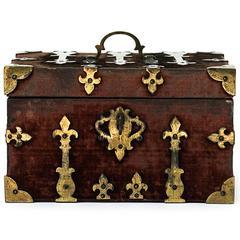 18th Century Brass Bound Crimson Velvet Casket