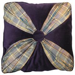 Throw Pillow in Aubergine ( Purple) Velvet and Plaid Silk/ Original Design