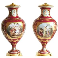 Fine Pair of German Porcelain Vienna Cabinet Vases, Now Lamped