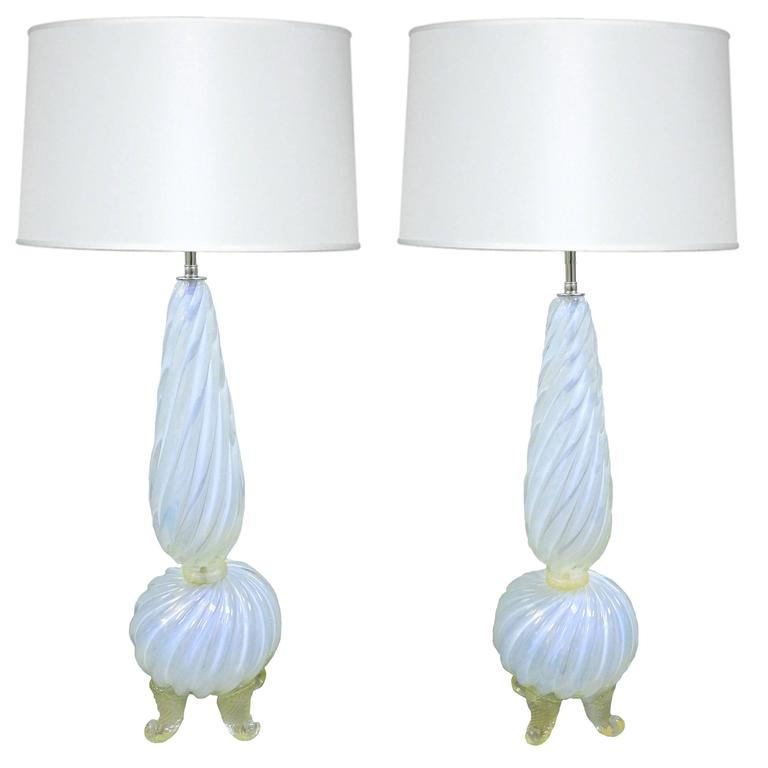 Pair of Mid-Century Opalescent Murano Glass Lamps