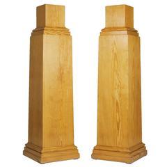 Pair of Beautiful Pinewood Plinths, Mid-20th Century
