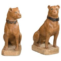 Pair of Painted Dogs Made in Reconstituted Stone, 19th Century