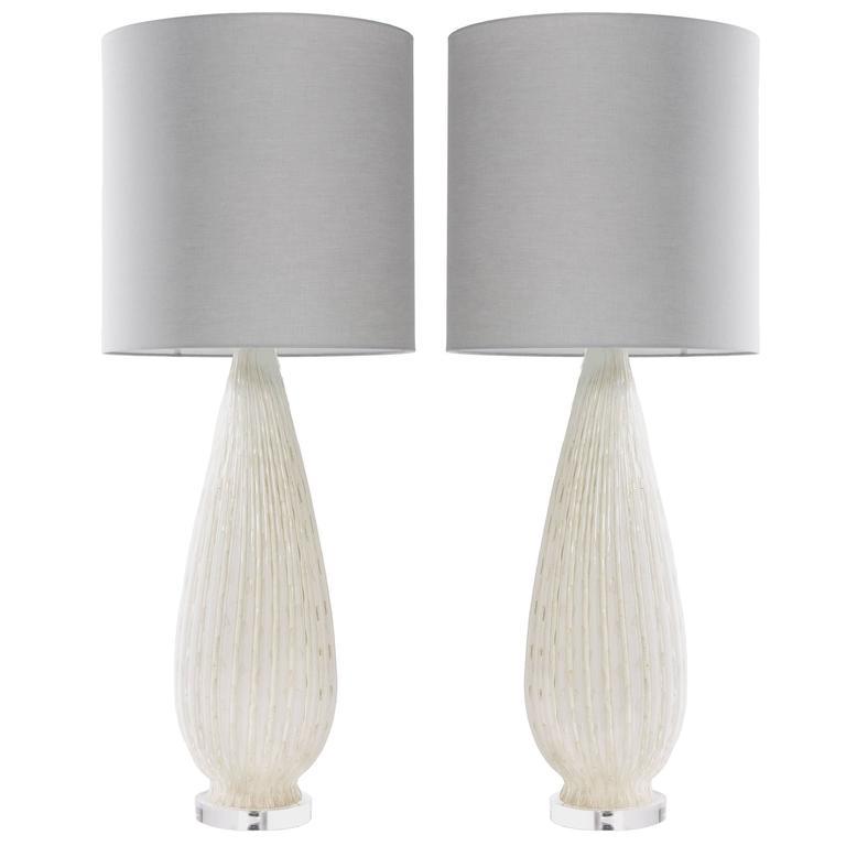 Pair of Mid-Century Monumental Tall Murano White Lamps