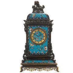Japonisme Ormolu and Champlevé Enamel Mantel Clock