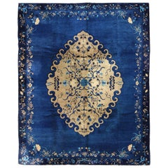 Antique Chinese Peking Rug in Royal Blue and Gold