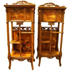 Pair of   Marquetry Inlaid Display Cabinets with Floral Design
