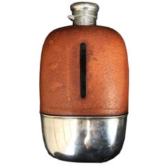20th Century American Silver and Leather Safari Flask by Gorham, circa 1920