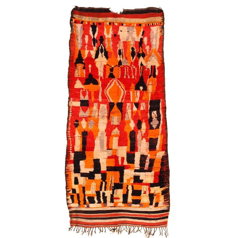 Early and Rare Abstract Rehamna Berber Carpet