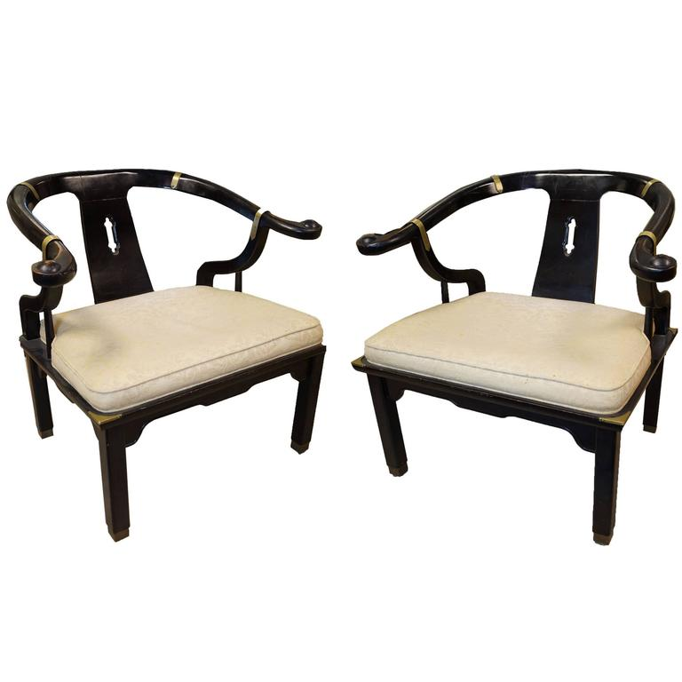 Pair of Chinoiserie Style Brass-Mounted Armchairs
