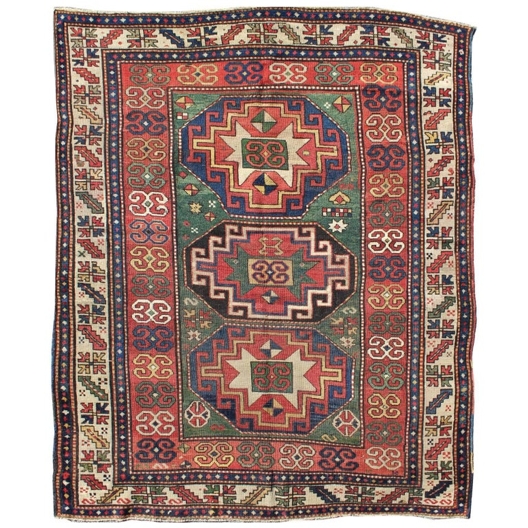 Antique Kazak Rug 19th Century Caucasian Rug For Sale At