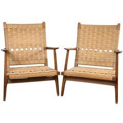 Pair of Hans Wegner Easy Chairs