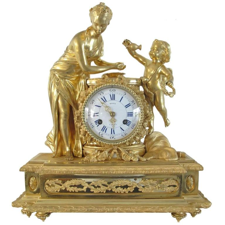Attractive Mid 19th Century Fire Gilded Clock By Moser A