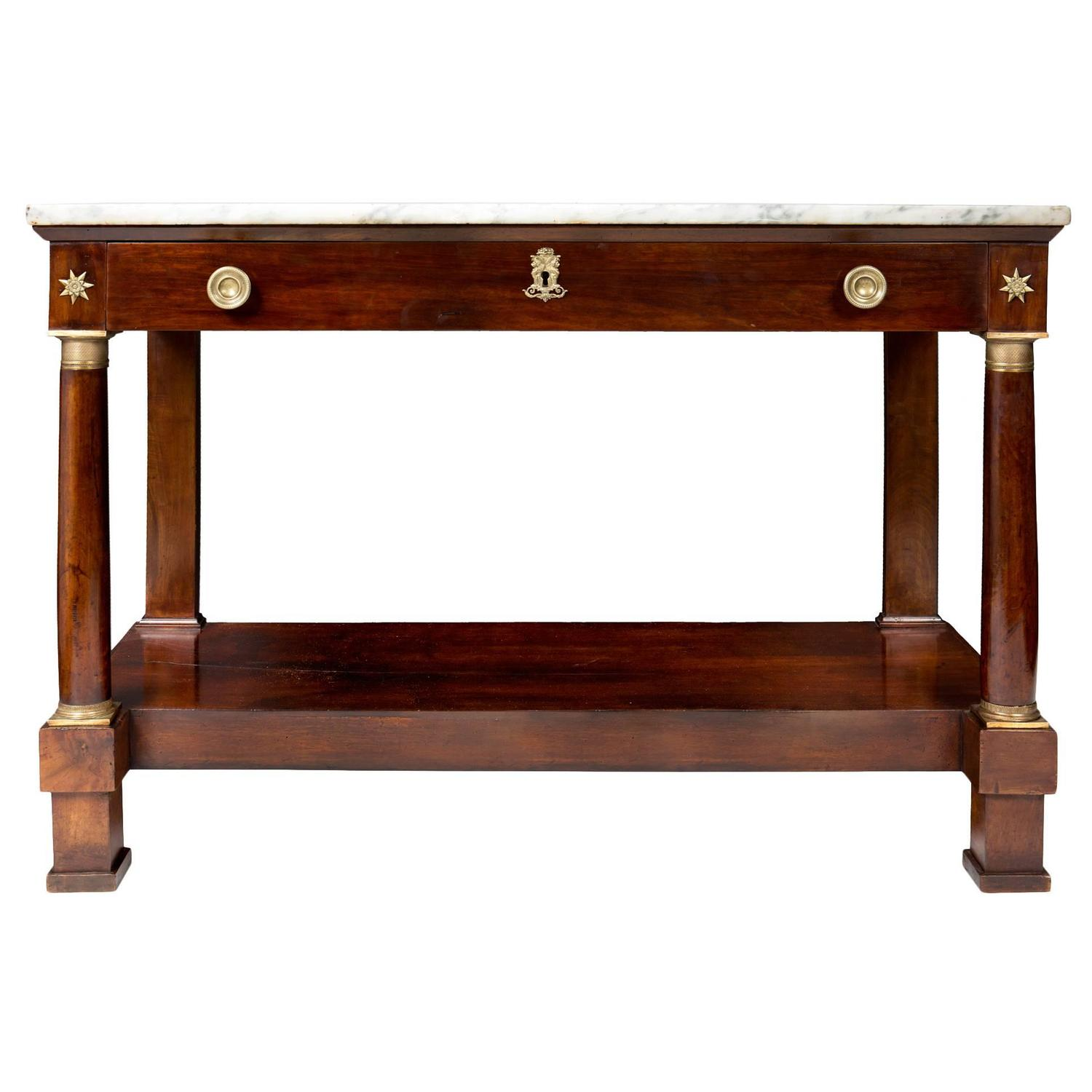 empire period console table with marble top at 1stdibs. Black Bedroom Furniture Sets. Home Design Ideas