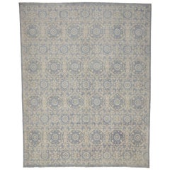 New Transitional Area Rug with Farmhouse Cottage Style and Orphism Ogee Pattern